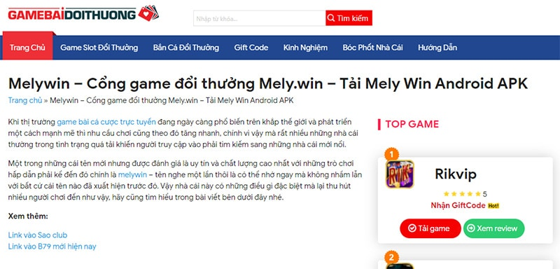Cổng game Melywin